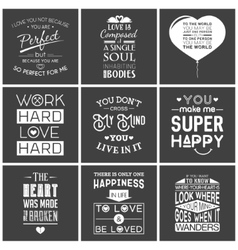 Set of vintage love typographic quotes vector