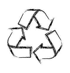 Sketch of recycling symbol with arrows vector