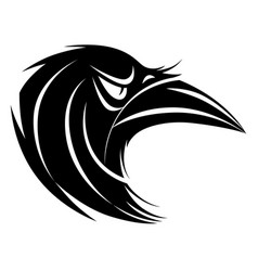 stylized black and white raven head vector image vector image