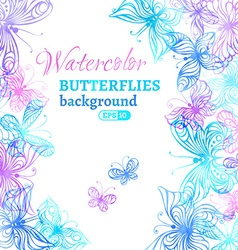Watercolor colourful butterflies background vector