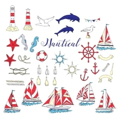 Nautical set with ships and wheel vector