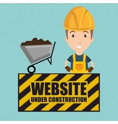 Man website under construction avatar vector