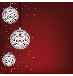 Christmas card with white lace baubles vector image