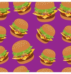 Seamless pattern with burger image cheeseburger vector