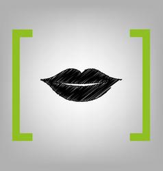 Lips sign   black scribble vector