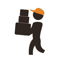 Worker deliver silhouette vector