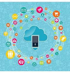 Cloud computing network idea vector