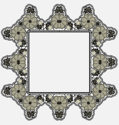 vintage lace frame with crocheted flowers isolated vector image