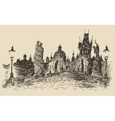 Charles bridge prague czech republic vintage vector