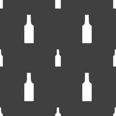 Bottle icon sign seamless pattern on a gray vector