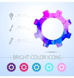Cogwheel icon with infographic elements vector