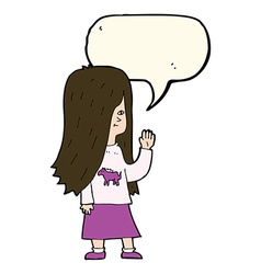 Cartoon girl with pony shirt waving with speech vector