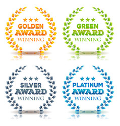 awards winning and laurel leaves set vector image