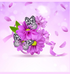 background with lilac flowers and butterflies vector image