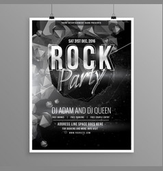black rock music party flyer poster template vector image vector image