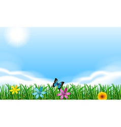 Blooming flowers under the clear blue sky vector image