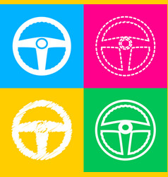 Car driver sign four styles of icon on four color vector