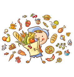 child with a big bag full of food vector image