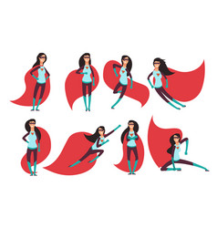 Comic superwoman actions in different poses vector