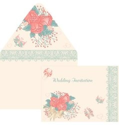 Design envelope for a wedding invitation in retro vector