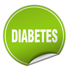 Diabetes round green sticker isolated on white vector