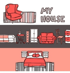 Furniture banner sketch vector