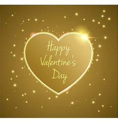 Gold heart valentines day vector