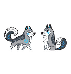 Gray siberian husky dog vector