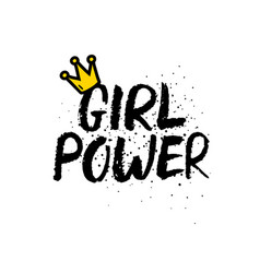 hand drawn lettering girl power feminist slogan vector image vector image
