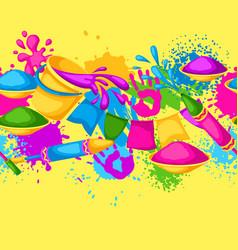 Happy holi colorful seamless border vector
