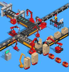 Industrial conveyor process of producing technique vector