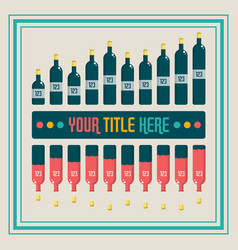 infographics elements wine bottle bar chart vector image vector image
