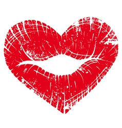 Lip print heart vector
