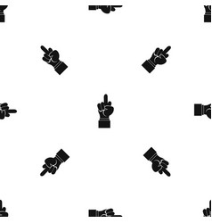 Middle finger hand sign pattern seamless black vector