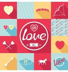 Pop-art set symbol of love vector