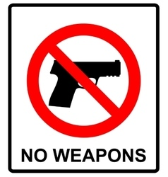 Prohibiting sign for gun No gun sign vector image vector image