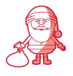 Red silhouette of santa claus with gift bag on vector