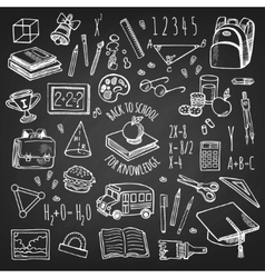 School tools sketch on chalkboard set vector