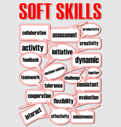 soft skills presentation slide with speech vector image