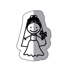 Sticker sketch silhouette caricature woman with vector