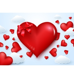 Valentines day background with blow hearts to sky vector
