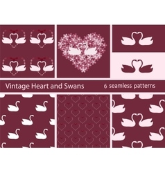 Vintage set love swans and heart vector
