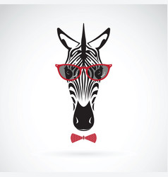 zebra wearing sunglasses on white background vector image vector image