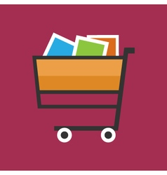 Cart isolated on pink background vector