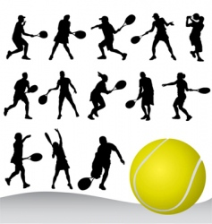 set of tennis player vector image