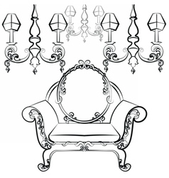 Classic luxury style set of furniture vector