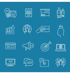 Advertisement and advertise linear icons marketing vector image