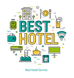 Best hotel service - line concept vector