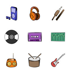 Listening music icons set cartoon style vector