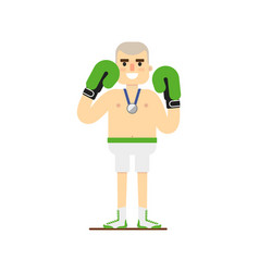 Young smiling boxer in gloves vector